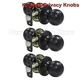 3 Pack Probrico Round Doorknobs Door Knob Lock Keyless Privacy Door Lockset Handle Storage Room Bathroom Oil Rubbed Bronze Door Knob-5763