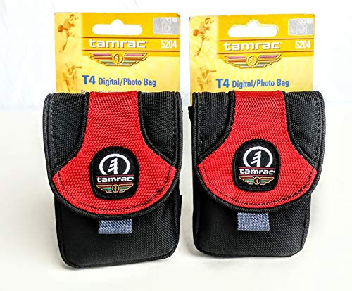 2 Tamrac Camera Cases For The Price of One! 5204 T6 Photo Digital Camera Bag (Red) Small Compact Padded Case Set for Point & Shoot Canon PowerShot Nikon Coolpix Panasonic Lumix SONY Cyber-Shot Cameras