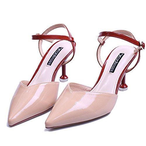 KPHY Tacon Fino Hebillas Sandalias Ajuste De Color De Regreso Vacio Laca Piel 7 Cm Zapatos De Tacon Alto Zapatos De Verano Único. Apricot color