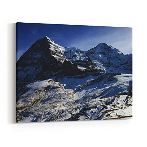 Rosenberry Rooms Canvas Wall Art Prints - North Face of Eiger Mountain and Moench, Jungfrau Region, Switzerland (30 x 20 inches)