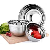 OMGard 18/8 Stainless Steel Mixing Bowl Set of 3 for Cooking, Baking, Food Preparation, Measurement Marks Flat Base for Stable Mixing Bowls Nest for Storage Mirror Polished 1.5-2.5 - 4 Liter