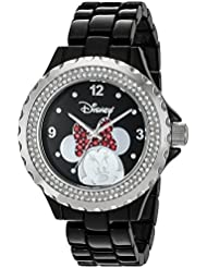 Disney Womens Minnie Mouse Quartz Metal and Alloy Watch, Color:Black (Model: W002896)