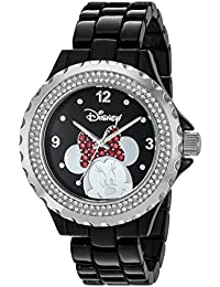 Womens Minnie Mouse Quartz Metal and Alloy Watch, Color:Black (Model