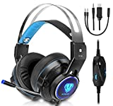 Gaming Headset For Xbox One, PS4, Surround Stereo Sound, Nintendo Switch, 3.5MM Wired Over-Ear Headphone With Microphone and Volume Control For PC, Laptop, Ipad, Phone(Blue)