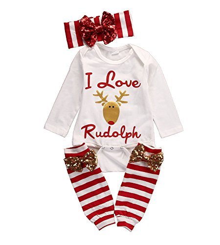 Ma&Baby Newborn Baby Girl I Love Rudolph Romper Leg Warmer Outfits Christmas Clothes, White, 0 - 6 Months (70)