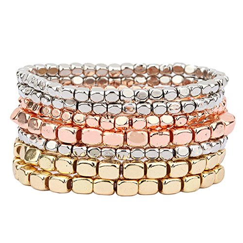 Tri Color Bangle Bracelet - Rosemarie Collections Women's Chunky Nugget Tri Color Stacking Statement Stretch Bracelet Set of 7