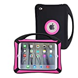 JUNCHI iPad Mini Case, iPad Mini 3 2 1 Case Kids Proof Shockproof Drop Proof Soft Silicone Portable Light Weight Handle Case Cover for iPad Mini 3, iPad Mini Retina Display and iPad Mini with Carrying Handle (Black/Red)