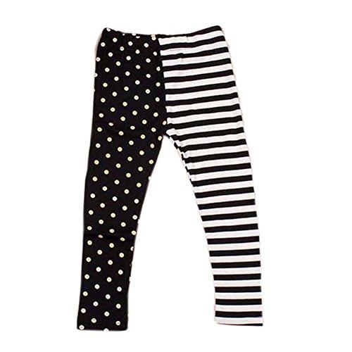 PanDaDa Girls Leggings Pants Polka Dot Striped Tights Skinny Trousers 1-8y (Kids Black And White Striped Tights)
