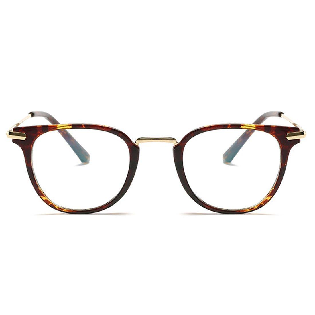 D.King Fashion Horn Rimmed Metal Temple Round Eyeglasses Frame Clear Lens Glasses