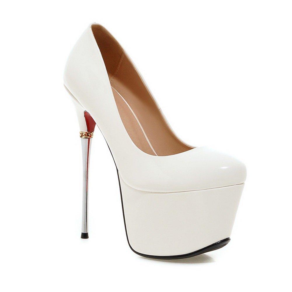 AdeeSu Girls Spikes-Stilettos Light Polyurethane Pumps Shoes B01MYPBSKY 5.5 B(M) US|White