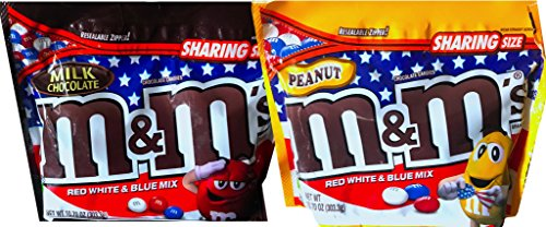 NEW M&M's Red White & Blue Mix 4th Of July Chocolate Candies Resealable Zipper Net Wt 10.70 Oz (Milk Choco & Peanut, 2)]()