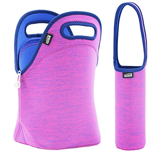 QOGiR Insulated Neoprene Lunch Bag Tote Purse Boxes and Bottle Sleeve for Women, Girls, Teen Girls& Kids-Outdoor, Working or School Lunch 12
