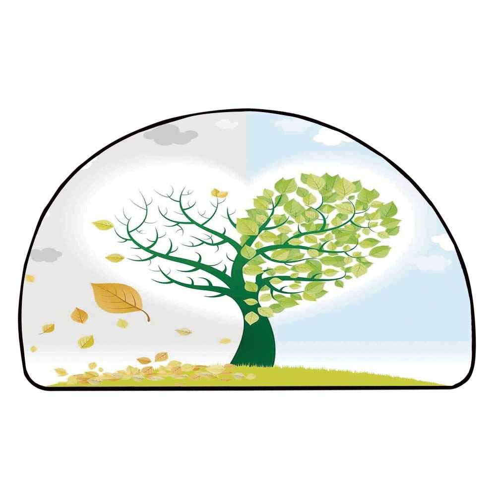 C COABALLA Tree of Life Comfortable Semicircle Mat,Two Different Life View Theme on Heart Shaped Tree Fall Spring Faded Decorative Decorative for Living Room,11.8'' H x 23.6'' L