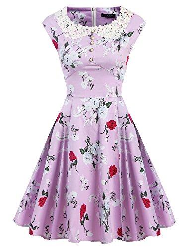 ACEVOG Women's Classic Hepburn Style Vintage Evening Dress for Party(Purple,XXL)