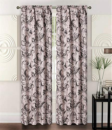 - Sapphire Home 2 Rod Pocket Curtain Panels 84 Inches, Decorative Floral Print, Light Filtering Room Darkening Thermal Foam Back Lined Curtain Panels for Living/Bedroom Room/Patio, Beige/Brown, W2