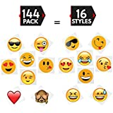 """144 2"""" Temporary Emoji Tattoos - 16 Assorted Emoticon Styles - Fun Gift, Party Favors, Party Toys, Goody Bag Favors"""