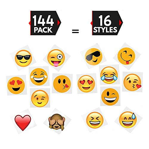 """144 2"""" Temporary Emoji Tattoos - 16 Assorted Emoticon Styles - Fun Gift, Party Favors, Party Toys, Goody Bag Favors for sale"""