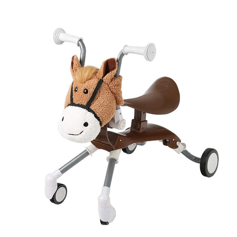 子供の歩行者折りたたみ子供のスクーター四輪バランス車のスライド2歳以上の子供のための漫画の子供のスクーター ( ( Color : Brown B07PTYYKFC Brown ) B07PTYYKFC, 表札のサインデポ:027592de --- cosp.top