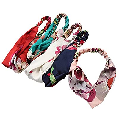 iWenSheng 5 PCS Women's Headbands Elastic Boho Printed Floral Turban Twisted Head Wraps Hair Accessories