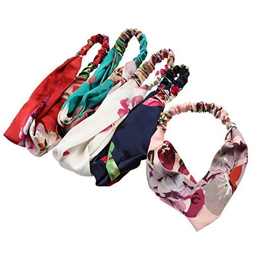 Price comparison product image iWenSheng 5 PCS Women's Headbands Elastic Boho Printed Floral Turban Twisted Head Wraps Hair Accessories (5 Pcs)