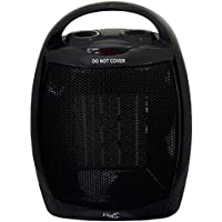 Vie Air Portable 2-Settings Ceramic Heater with Adjustable Thermostat, 1500W, Black