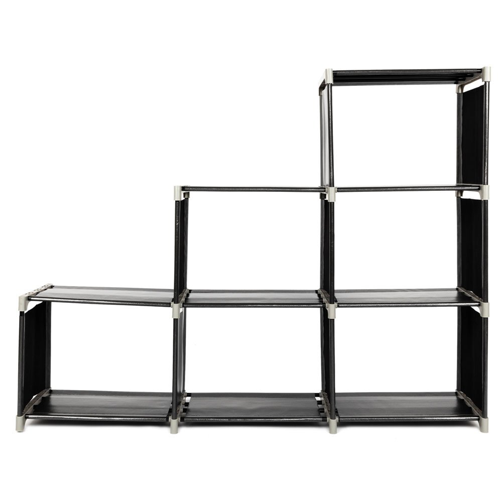 aifeier Multifunctional Assembled 3 Tiers 6 Compartments Storage Shelf Black