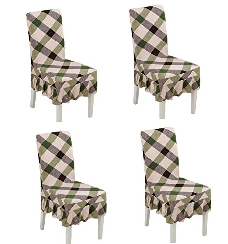 Deisy Dee Print Pattern Ruffled Long Skirt Dining Chair Slipcovers (Pack of 4) C028 (Check)
