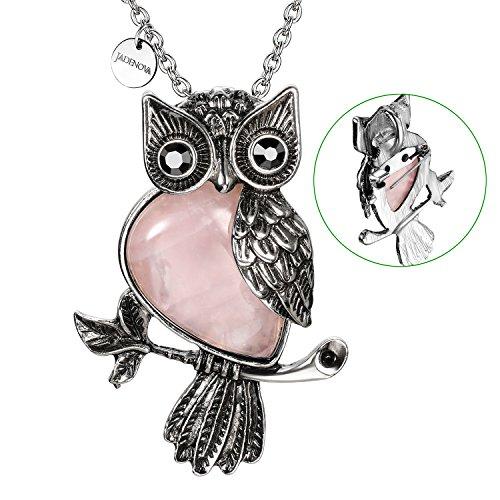 (JADENOVA Antique Owl Brooch Pin Pendant Necklace Energy Healing Crystal Gemstone Rhinestone 20