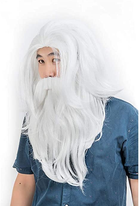 Deluxe Washable Silver Grey Wig Long Length Fringed Wig Fancy Dress Cosplay