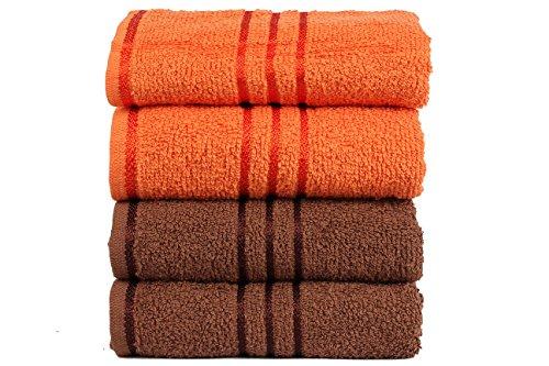 Trident 400 GSM 100 % Cotton 4 Pcs Hand Towels , 40 X 60 Cm.- Brown & Orange