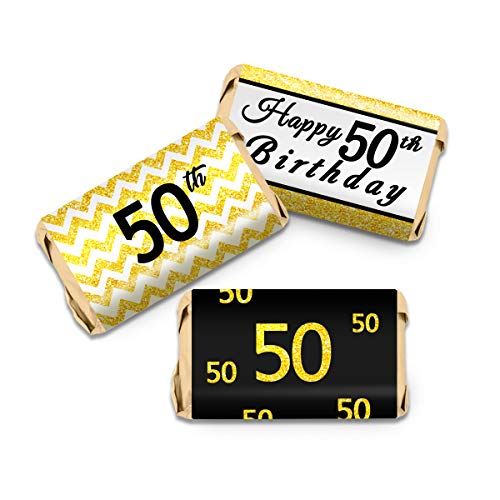 50th Birthday Party Mini Candy Bar Wrappers - Black and Gold - 63Stickers - Mini Bar Wrapper