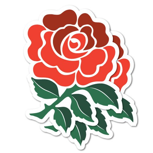 England Roses (2x England Rugby Rose Flower Stickers Decal Stickers Pet Art Laptop)