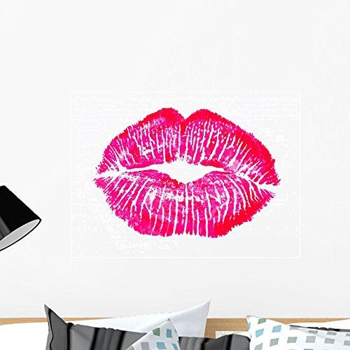 Wallmonkeys FOT-7383080-24 WM126463 Kiss Lip Print Pink Red Mouth Peel and Stick Wall Decals (24 in W x 17 in H), Medium]()