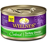 Wellness Natural Canned Grain Free Wet Cat Food, Cubed Turkey, 3-Ounce Can (Pack of 24)