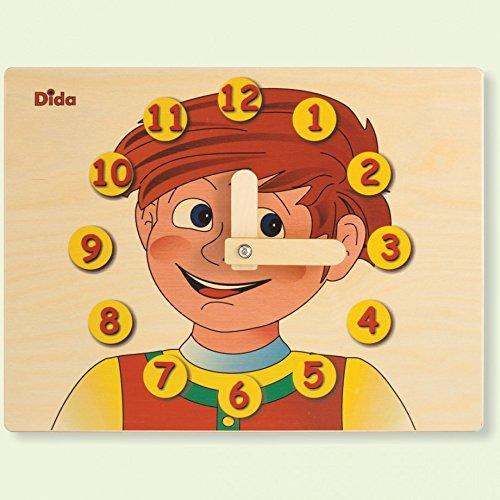 DIDA - Horloge éducative Visage Enfant - Jouet en Bois pour Apprendre à Lire l'heure