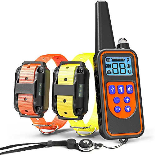 Dog Training Collar, Veckle Dog Shock Collar 2600ft Waterproof Dog Electronic Collar Remote Training with LED Beep Vibration Shock Collar for Large and Medium Dogs Training for 2 Dogs with Remote by Veckle
