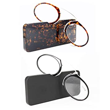 e13315665c28 REAVEE 2 Pack of Ultra Thin Reading Glasses Nose Resting Pinching Readers  with Case Go Everywhere