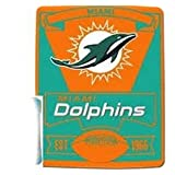"""Officially Licensed Miami Dolphins Marque Series Fleece Throw Blanket (50"""" X 60"""")"""