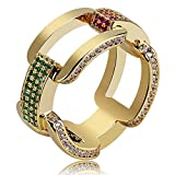 SHINY.U Men's 14K Gold Plated Cluster Lab Diamond ETERNITY Band CZ Bling Square Anchor Link Ring Hip Hop (Gold, 11)