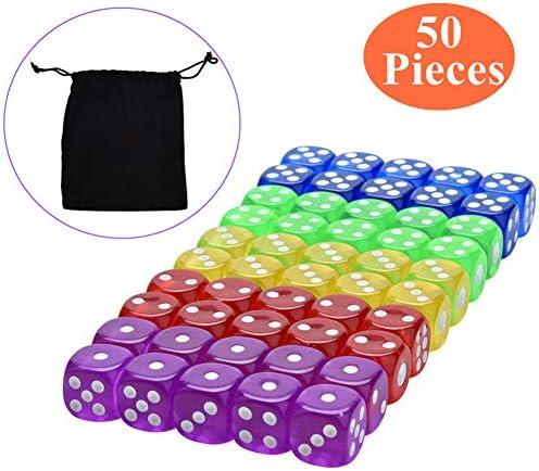 PEIUJIN 50 Stücke Sechsseitiger Würfel mit Kostenlos Tasche (5 Farben, 16mm) würfel für tenzi, ferdi, kniffel, betrugsdezernat oder unterricht in Mathe