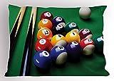 Lunarable Manly Pillow Sham, Billiard Pool Balls Arrangement Snooker Contest Beginning Entertainment Game Print, Decorative Standard Size Printed Pillowcase, 26 X 20 inches, Multicolor