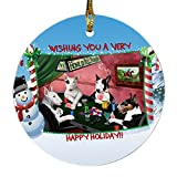 Home of Bull Terrier 4 Dogs Playing Poker Photo Round Christmas Ornament
