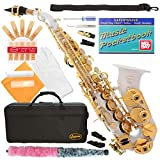 320-WH - WHITE/GOLD Keys Curved Bb Soprano Saxophone Lazarro++11 Reeds,Music Pocketbook,Case,Care Kit - 24 COLORS - SILVER or GOLD KEYS - CHOOSE YOURS !