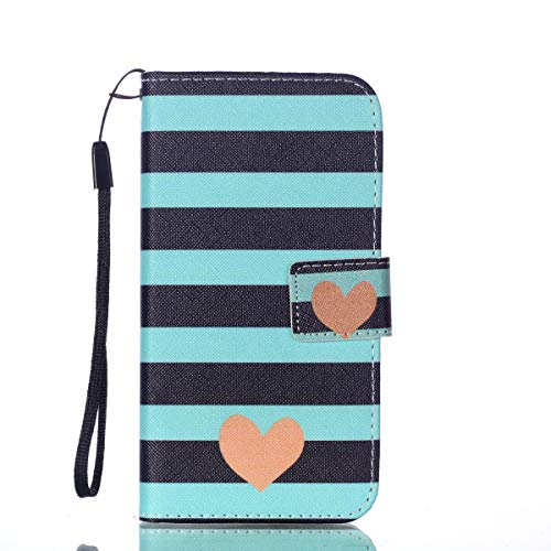 ([Wrist Strap] Galaxy S10e Case, [Galaxy S10e] Flip Wallet Case, SeiroKern [Kickstand] [Card/Cash Slots] PU Leather Pouch Skin Cover W/Stylus for Samsung Galaxy S10e 5.8-inch (Green Lines Love Heart))