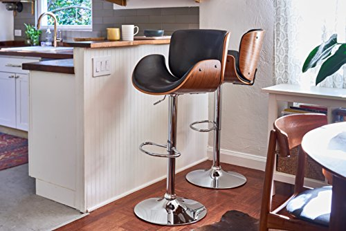 Porthos Home Redmond Adjustable bar Stool, Black