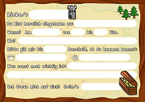 12 Einladungskarten Kindergeburtstag Pirat