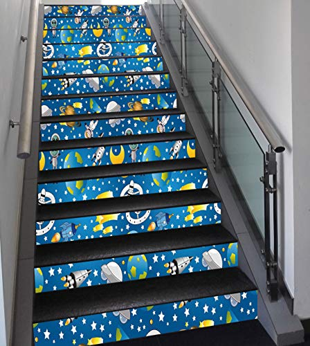 Stair Stickers Wall Stickers,13 PCS Self-adhesive,Space,Alien and Human Astronaut Space with Shooting Stars Moon and Earth Cute Image,Blue Grey Yellow,Stair Riser Decal for Living Room, Hall, Kids Roo -