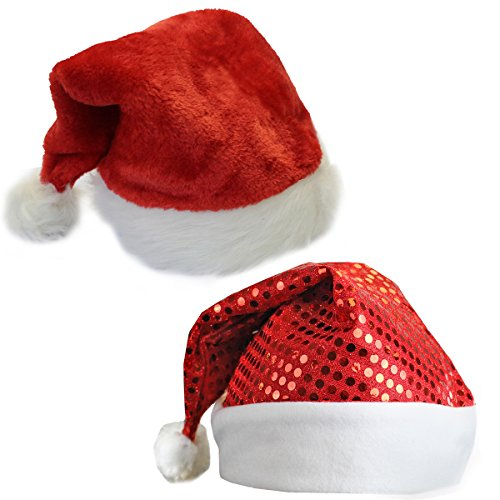 [Plush Santa Hat and a Red Sequin Santa Hat] (Crazy Christmas Hats)