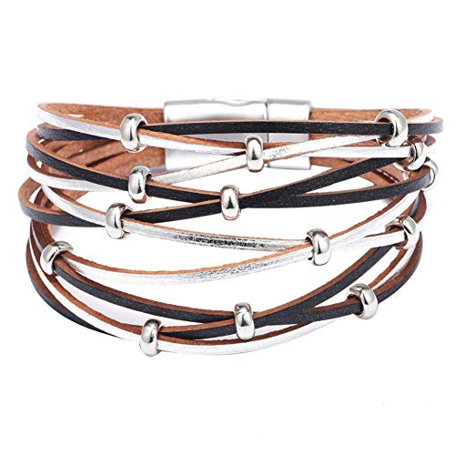ocijf179 Multi-Layer Leather Winding Bracelet, Women Metal Beads Charm Faux Leather Multilayer Bracelet Magnetic Cuff Bangle Silver + Black