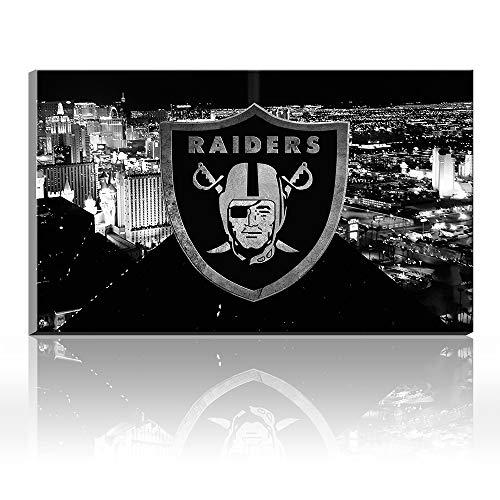 Karen Max Las Vegas City View Canvas Prints Wall Decor Oakland Raiders Logo Painting, Home Decor Football Sport Pictures - Canvas Art Wall Decor Friends New Home Gifts Frameless